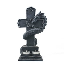 Black Art Dragon and Cross Tea Light Candle Holder