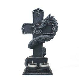 Black Art Dragon and Cross Tea Light Candle Holder