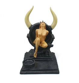 Black Art Horned Throne Tea Light Candle Holder