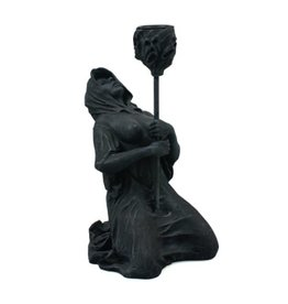 Black Art Hooded Figure Drip Candle Holder