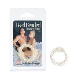 California Exotic Novelties Pearl Beaded Prolong Ring - White