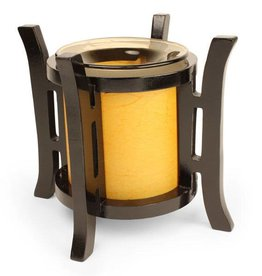 Wooden Frame With Golden Shade Oil Lamp
