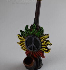 Rasta Peace Sun - Wood Pipe