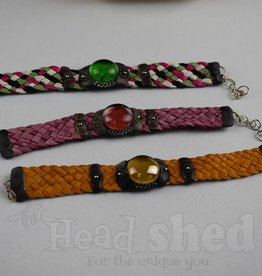 Leather With Glass Bead Bracelet - Thick (60pc Display) Single