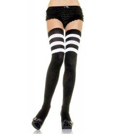 Leg Avenue Athlete Thigh Hi w/ 3-Stripe Top Black/ White O/S