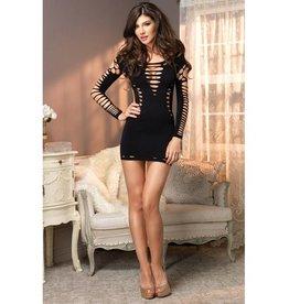 Leg Avenue Seamless Shredded Mini Dress w/ Cut Out Side Detail Black O/S