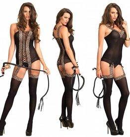 Leg Avenue Reversible Opaque Suspender Bodystocking Leopard O/S