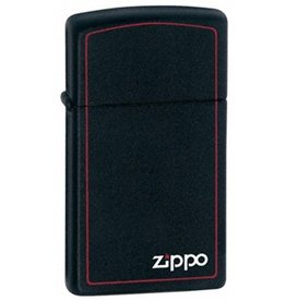 Zippo Zippo Lighter - Slim Black Matte w/ Red Trim
