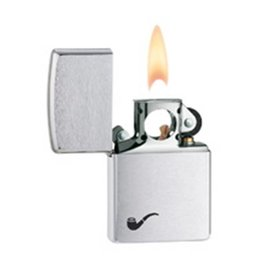 Zippo Zippo Lighter - Brushed Chrome w/ Pipe
