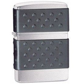 Zippo Zippo Lighter - Brushed Chrome w/ Black Trim