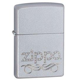 Zippo Zippo Lighter - Satin Chrome w/ Zippo Script Stamp