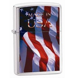 "Zippo Zippo Lighter - Brushed Chrome ""Made in USA"""