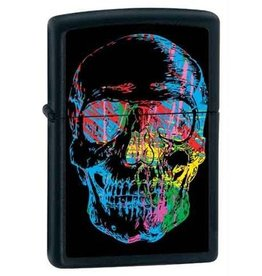 Zippo Zippo Lighter - Black Matte Sketchy Color Skull
