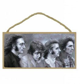 Wood Door Hanger Plaques 5 x 10 The Beatles B&W