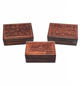 "Carved Top w/ Flowers 6""x4"" Wood Box"