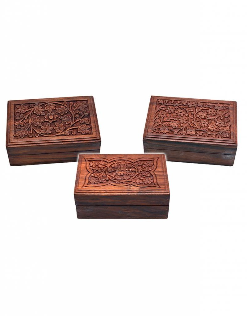 """Carved Top w/ Flowers 6""""x4"""" Wood Box"""