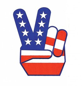 American Flag Peace Fingers Sticker
