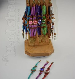 Leather With Glass Bead Bracelet - Thin