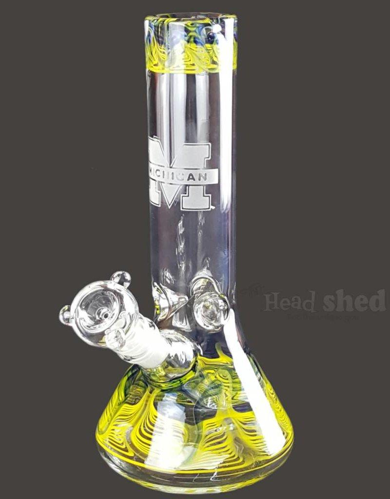 "American Made Glass (AMG) AMG - 10"" University Beaker Michigan Wolverines"