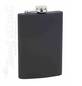 Maxam 8oz S.S. Flask - Black Rubber