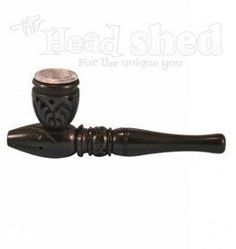 "4"" Black Carved Wood Tobacco Pipe w/ Stone Bowl #1"