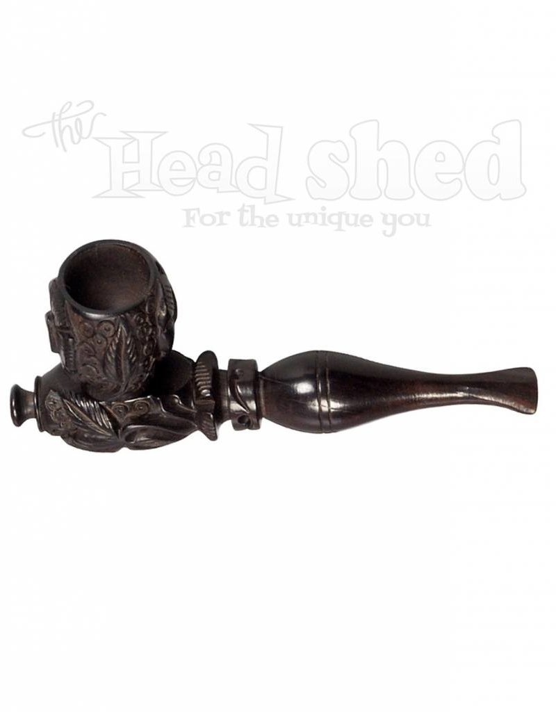 "4"" Black Carved Wood Tobacco Pipe"