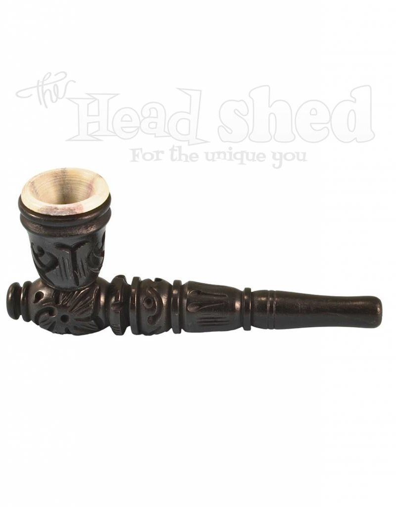 "4"" Black Carved Wood Tobacco Pipe w/Stone Bowl #2"