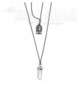 Zen Vibes Buddha & Crystal Metal Necklace