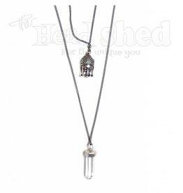 Zen Vibes Buddha & Crystal Metal Necklace