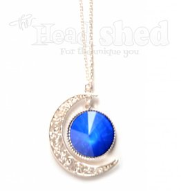 Filigree & Holographic Crescent Moon Necklace