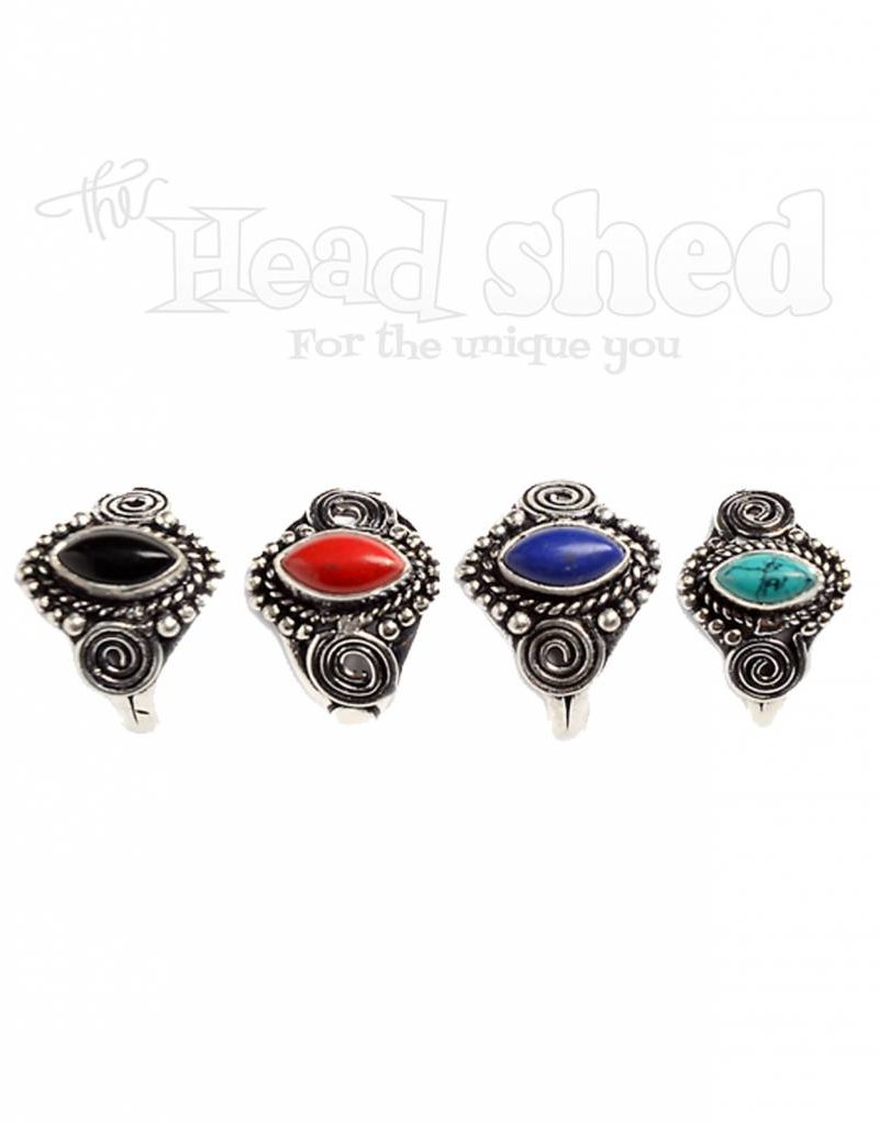 Asst. Color Pointed Oval Stone Ring