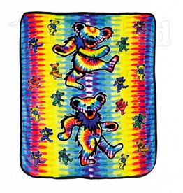 Tie Dye Dancing Bear Fleece Blanket