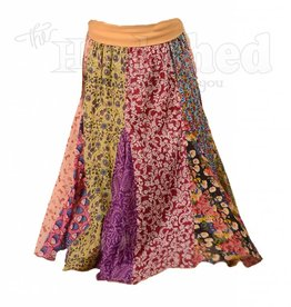 Ladies - QUEEN - How Sweet Is Yoga Waistband Printed Cotton Panel Skirt