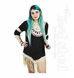 Ladies - Cotton Poly Blend Crochet Mandala Fringe Blouse
