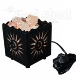 Allora Metal Cube Basket Salt Lamp w/ Sun Design