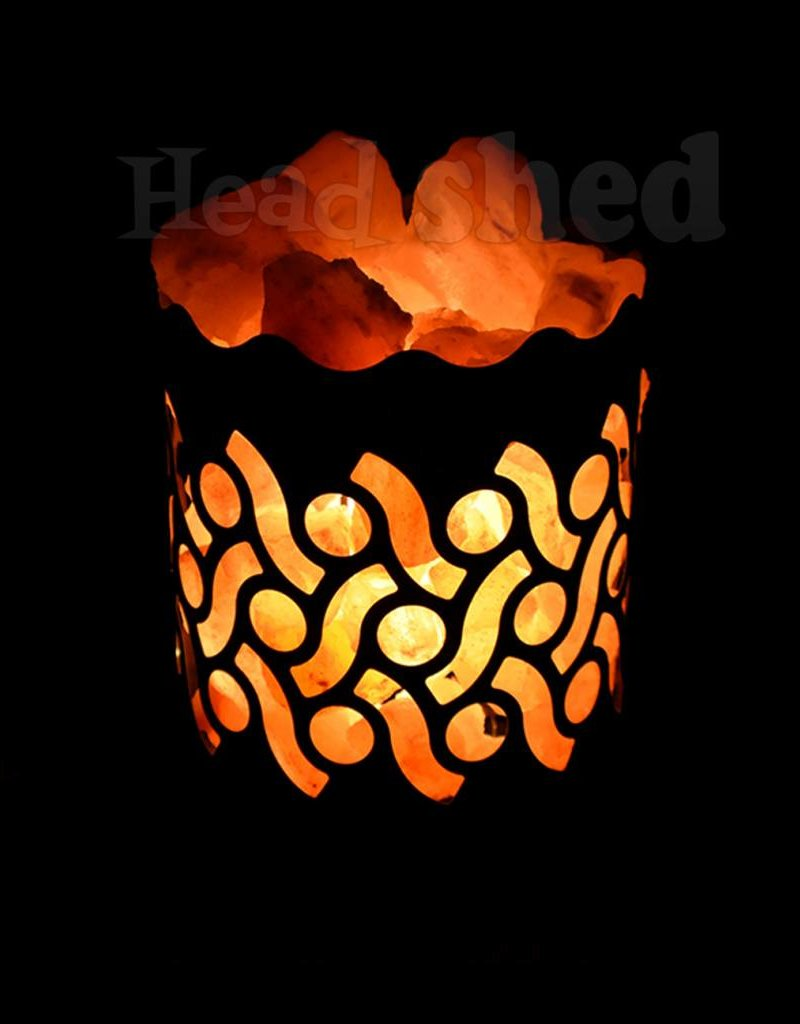 Allora Metal Cylinder Basket Salt Lamp w/ Flanigan Design