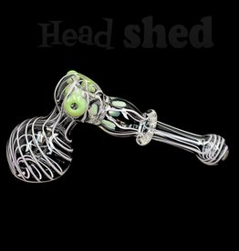 Hillside Glass - Bubbler - Hammer Pink Swirl w/ Green Slime Accents (5720)