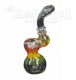 "Hillside Glass - Bubbler w/ Rasta Design 5"" (5709)(WH)"