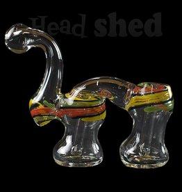 Hillside Glass - Double Bubbler w/ Rasta Design (5714)