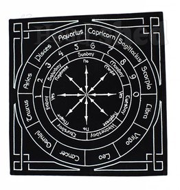 "Embroidered Velvet Pendulum Mat (12""x12"") - Astrology"