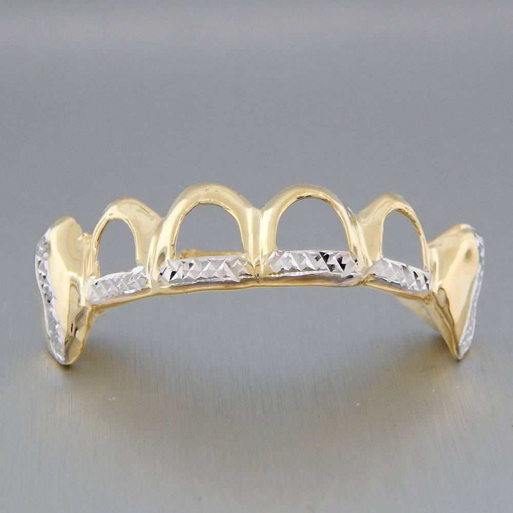 6 Fronts Open Crown Diamond Cut Trim With Extended Fangs