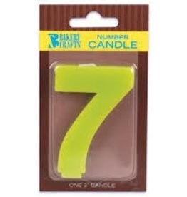 "Decopac Block Number Candle ""7"" - Lime Green"