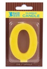 "Decopac Block Number Candle ""0"" - Yellow"
