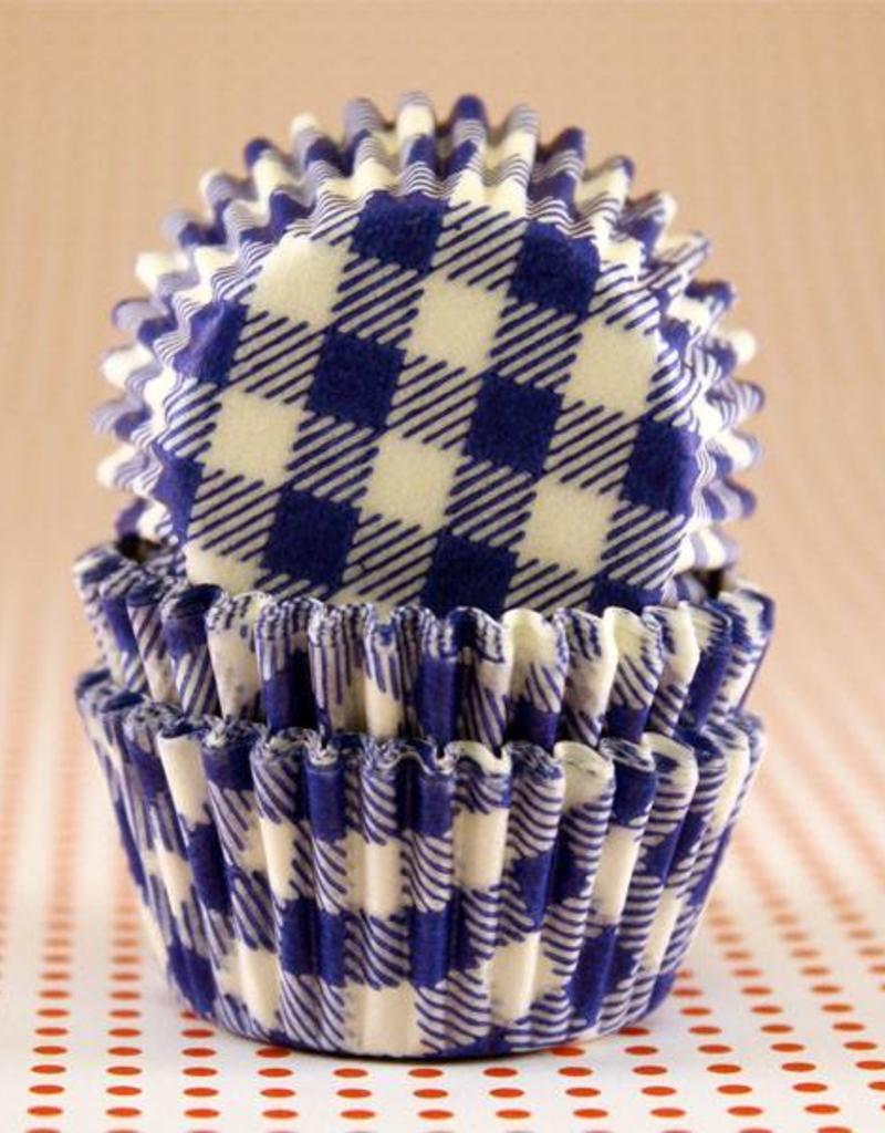 CK Blue Gingham Baking Cups Mini (40-50ct)