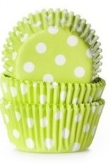 Viking Lime Green/White Polka Dot Mini Baking Cups