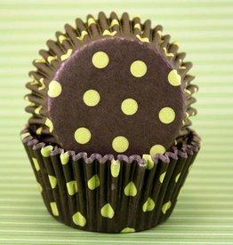 Black and Yellow Polka Dot Baking Cups