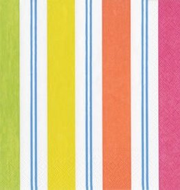 Caspari Awning Stripe Brights Luncheon Napkin