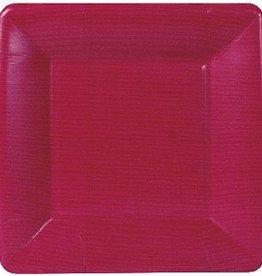 Caspari GROSGRAIN BORDER ROSE SQ SALAD/DESSERT PLATES SQUARE
