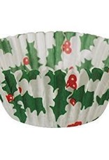 CK White with Holly Mini Baking Cups (40-50ct)