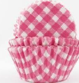 CK Hot Pink Gingham Baking Cups Mini (40-50ct)